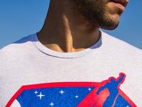 Sleek brandedbaron superhero shield white closeup
