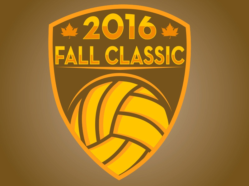 Volleyball Fall Classic  leaves fall logo design shield volleyball logos sports logos sports branding branding logos sports design volleyball
