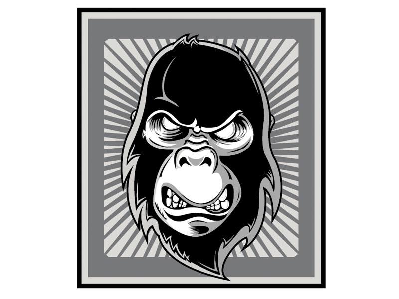 Gorilla grayscale monkey illustration logo design border sun rays mascot gorilla
