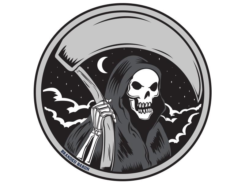 Grim Reaper Circle Dribbble circle illustration skeleton nighttime starry night vector illustration death grim reaper