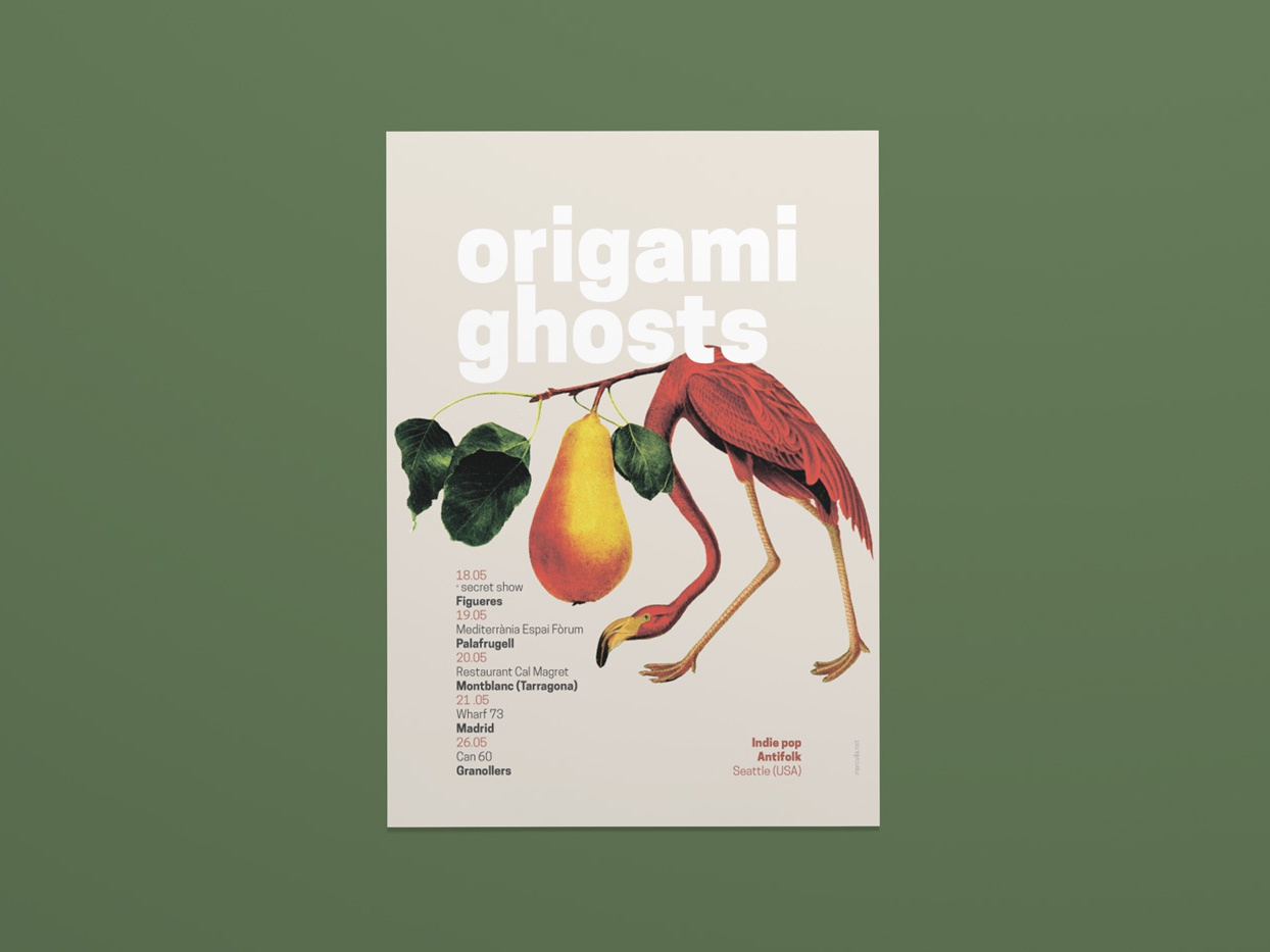 Origami Ghosts 2017 Spanish Tour poster cartel gigposter gigposters music artwork music poster affiche