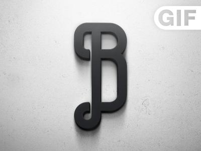 Logo Bastards gif icon b typo typography photoshop sevilla spain grey black white shadow 3d wall texture