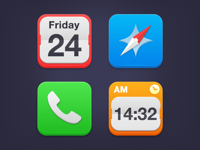 iOS7 Icons icon dribbble ios7 iphone calendar safari phone clock flat sevilla blue red green orange