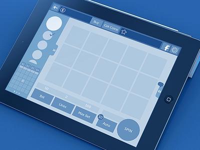 Mockup Slot Bingo app ipad interface blue button bingo slot casino mockup wireframe sevilla alvaro