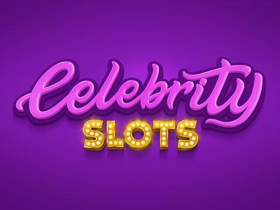 Celebrity typography typo style app pink purple slot casino celebrity shine shadow