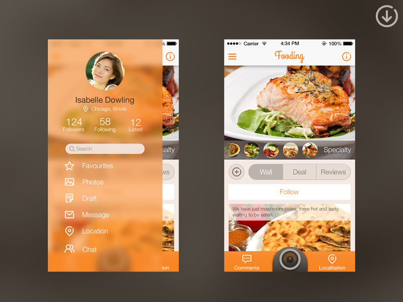 Slide Menu (code) by Álvaro Carreras on Dribbble