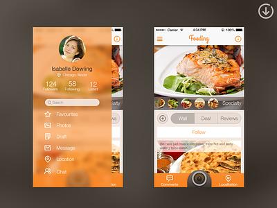 Slide Menu (code) app slide food ios7 orange ui ux menu camera code github sevilla