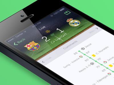 Match Live soccer app ios7 ui ux sevilla green football live time iphone spain