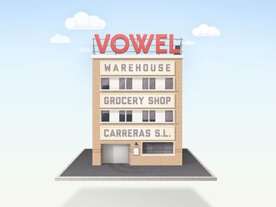 Building Warehouse building pixel illustration home spain alvaro sky photoshop realistic flat draw