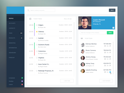 Dashboard Tasks dashboard ui ux interface web task menu flat blue profile