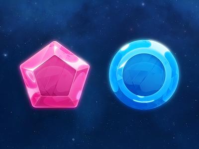 Jewels Space space jewel gems galaxy game shape ui blue pink shine vector glow