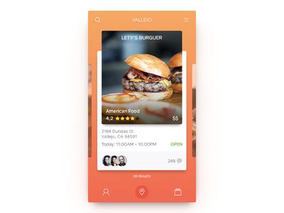 UI Food App comments orange meal restaurant search slide menu burger food app ui