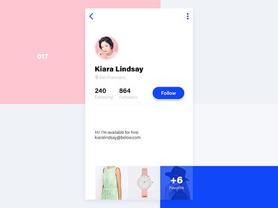 Below App Profile minimal flat white ios11 model fashion follow profile ux ui