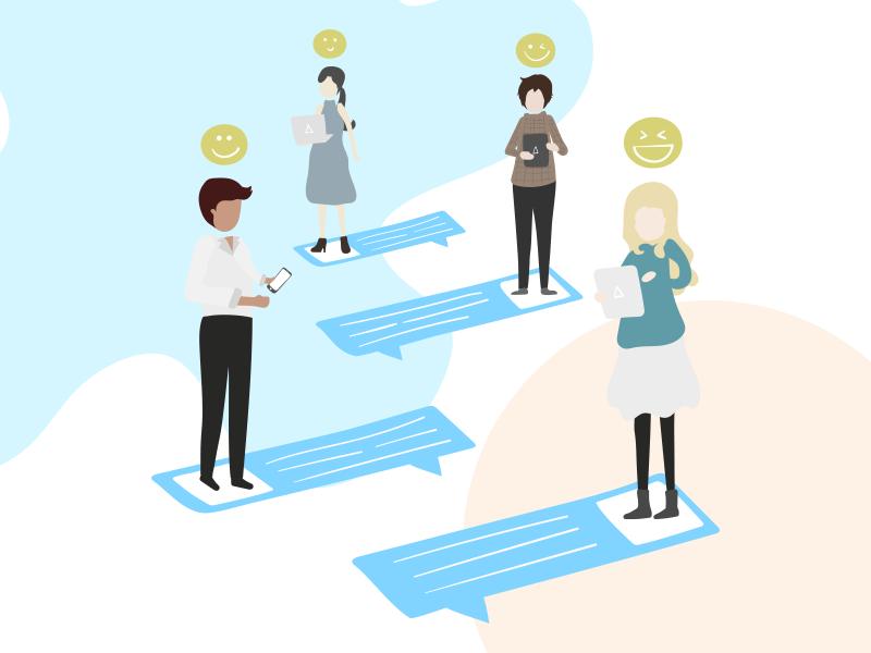 Group Texting mockup development design illustration
