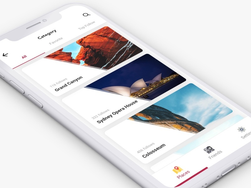 Sightseeing Discovery App minimal user interface colosseum grand canyon attractions sightseeing app design mobile ui