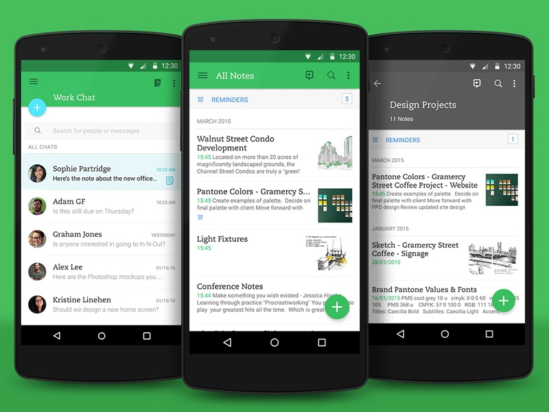 Evernote Material Design update evernote material google app lollipop screen nexus sketch