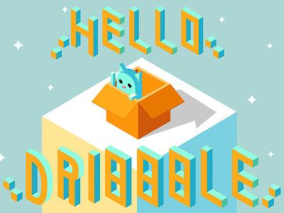 Hello Dribbble isomatric falt hello welcome