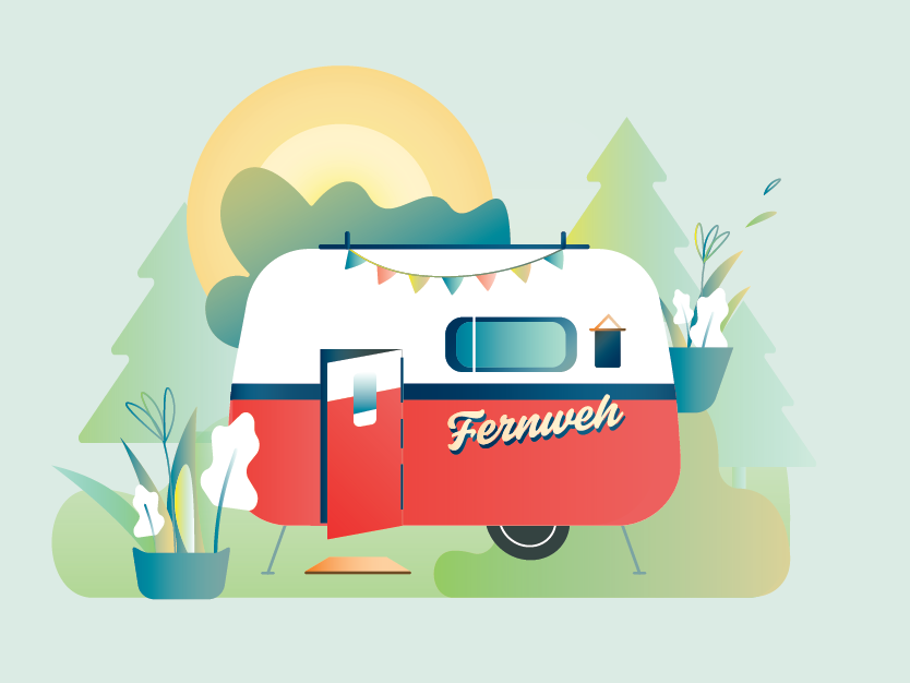 Fernweh app ui india typography vector design graphicdesign illustration branding