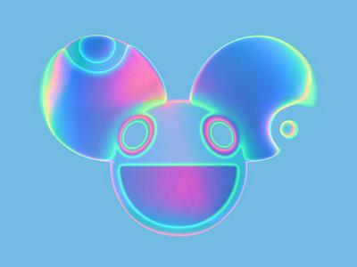 Iridescent Deadmau5 Helmet deadmau5 chrome iridescent neon art digitalart illustration