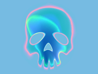 Iridescent skull chrome skull iridescent neon gradient art digitalart illustration