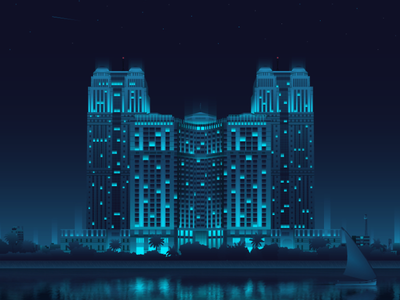 Nile Towers - Cairo nile egypt architecture cairo art digitalart futuristic gradient illustration lights neon night vector