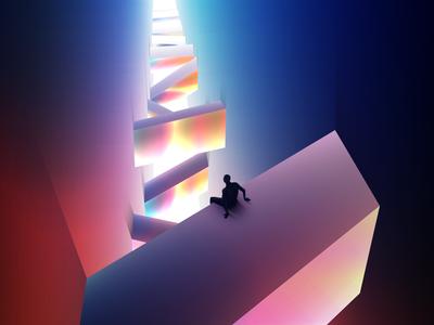 Lost On Captivating Sounds wandering night illustrator lights futuristic glow vectorart neon gradient art digitalart vector illustration