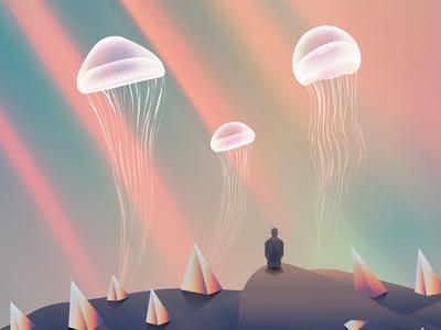 Dapple jellyfish wandering illustrator lights futuristic glow vectorart neon gradient art digitalart vector illustration