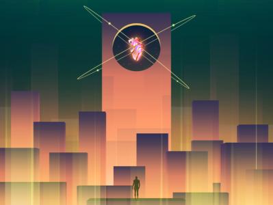 Extra Life glow heart neon illustrator wandering futuristic vectorart art digitalart illustration vector