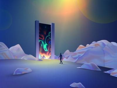 Singularity surreal dreamy wandering futuristic vectorart neon gradient art digitalart vector illustration