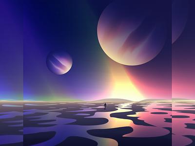 Road to utopia wandering futuristic glow vectorart neon gradient art digitalart vector illustration