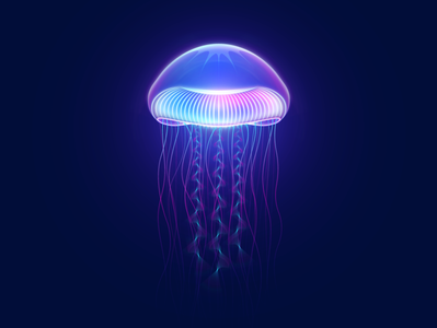 Queen Jellyfish particles jellyfish illustrator glow vectorart neon gradient art digitalart vector illustration