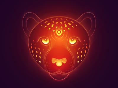 Queen Cheetah animal tutorial cheetah futuristic glow neon vectorart art gradient digitalart illustration