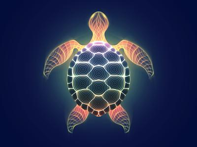 Queen Turtle animal turtle tutorial glow vectorart art vector neon illustration gradient digitalart