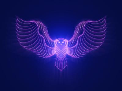 Queen Owl animals owl futuristic glow vectorart vector illustration gradient neon art digitalart