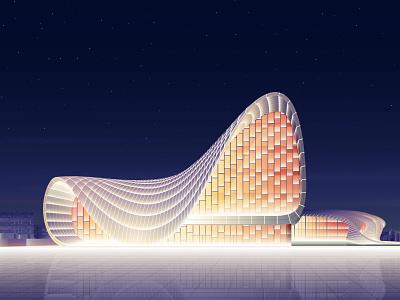 Heydar Aliyev Centre design architecture lights futuristic glow neon gradient art vector digitalart illustration