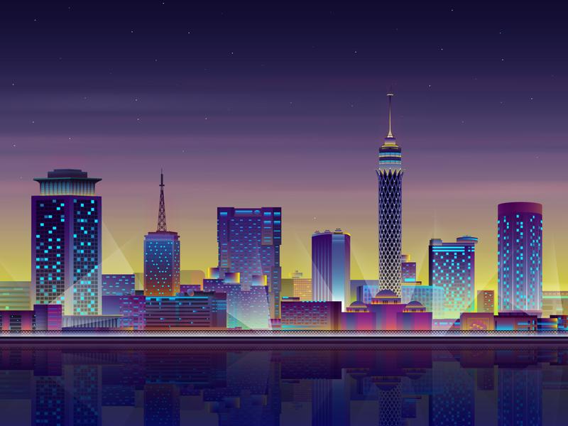 Cairo cairo architecture lights futuristic glow neon gradient art vector digitalart illustration