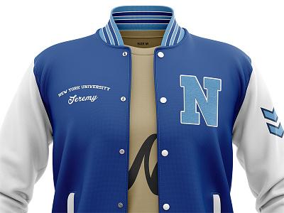 Open Varsity Jacket Mockup letterman jacket bomber jacket 3d apparel jacket mockup varsity