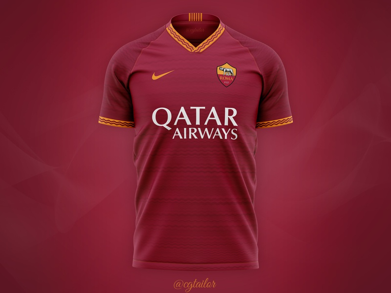 Football / Soccer Concept for AS Roma by @cgtailor soccer jersey mockup jersey mockup t-shirt mockup sportswear tshirt jersey t-shirt sport mock-up apparel mockup 3d apparel mockup football concept soccer concept concept kit kit concept soccer football