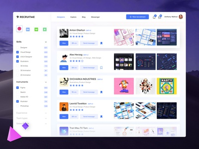 Freelancer Recruit Platform flatdesign figma uiux app system os mac ui dashboard freelance hire recruit product webdesign