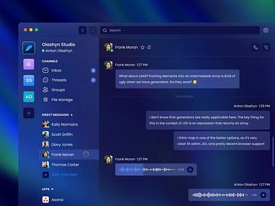 Business messenger app product design animation interface desktop big sur macos prototype mailbox zoom group chat web design glassmorphism dark ui app design slack chat messenger