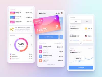 Mobile Banking App mobile ui mobile bank finance app mobile apps financial banking app fintech transaction creditcard money crypto wallet exchange cryptocurrency wallet investment mobile app banking finance