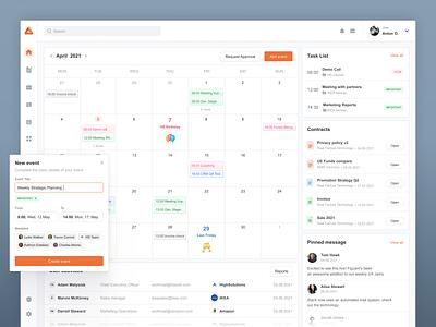 ERP System Dashboard product table ux managment minimalism task calendar b2b analysis platform schedule finance dashboad crm erp
