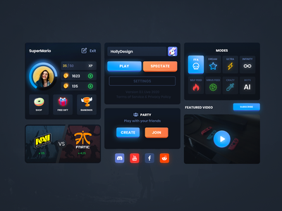 Game Menu Dashboard UI Design futurism app design mobile app uidesign game design stats profile design cardboard card design darktheme webdesign gaming neomorphism neon figma uiux cybersport crypto mobile game