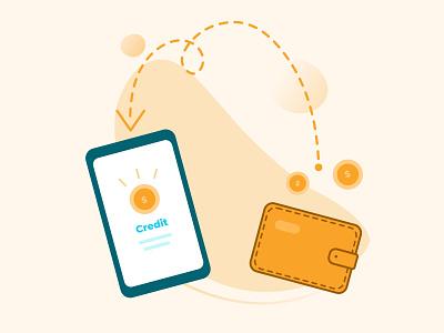 Buy Online Credit recharge credit card design ui illustrator