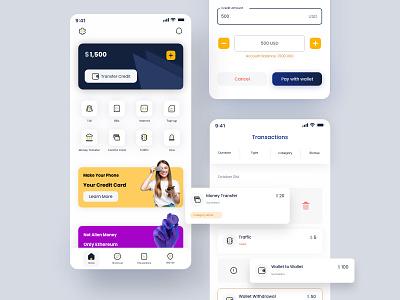 Digital Wallet - EMV user interface credit card wallet ux uiux uidesign ui design ui modern mobile app design mobile design app