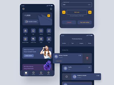 Dark Digital Wallet - EMV dark qr code money uiux ux user interface ux design ui design bills toll transactions fintech finance wallet mobile app mobile design app ui credit card