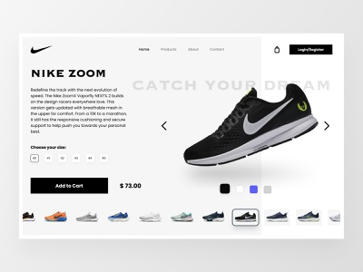 Ecommerce Shopify Product Page product page website landing page product nike shoe online shop shopify shop ecommerce user interface interface design ui