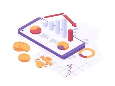 Economic crisis crash fall global graphic chart coin money online mobile phone banking financial design illustration vector isometric decrease analysis businesss crisis economic