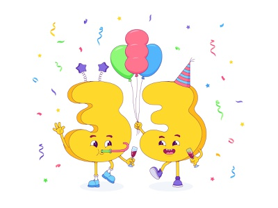 33 🎉 friends wine pipe cap 2d design confetti balloon happy artwork digital illustraion numeral number party character cartoon vector birthday 33