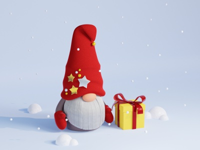 Happy New Year! scandinavian gnome 3d art new year christmas gift box winter snow render blender character holiday congratulation present illustration card celebration 3ddesign